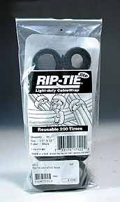 "Rip-Tie Hook and Loop  Cable Ties. Black 10-Pack 1/2"" x 8"""