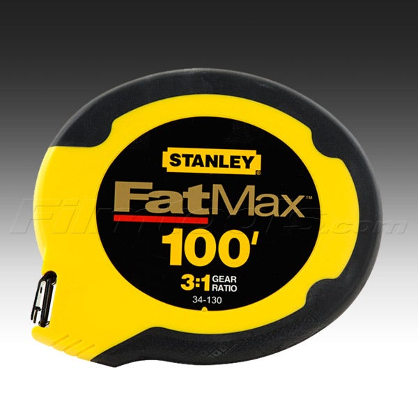 "Stanley 34-130 100ft. 3/8"" Wide Stainless Steel Wind Up Tape Measure"