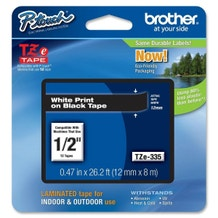 """Brother 1/2"""" P-Touch TZe Label Tape with White Letters - Black"""