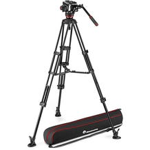 Manfrotto 504X Fluid Video Head & MVTTWINMA Aluminum Tripod with Mid-Level Spreader Kit