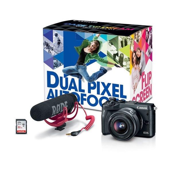 Canon EOS M6 Mirrorless Digital Camera with 15-45mm Lens Video Creator Kit - Black