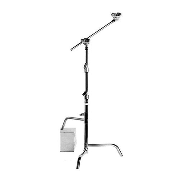 "Matthews Studio Equipment 20"" Chrome Hollywood Low Profile C-Stand with Sliding Leg, Grip Head & Arm"