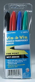 Sanford Vis-a-Vis Fine Point Wet Erase Marker Set, SAN16074