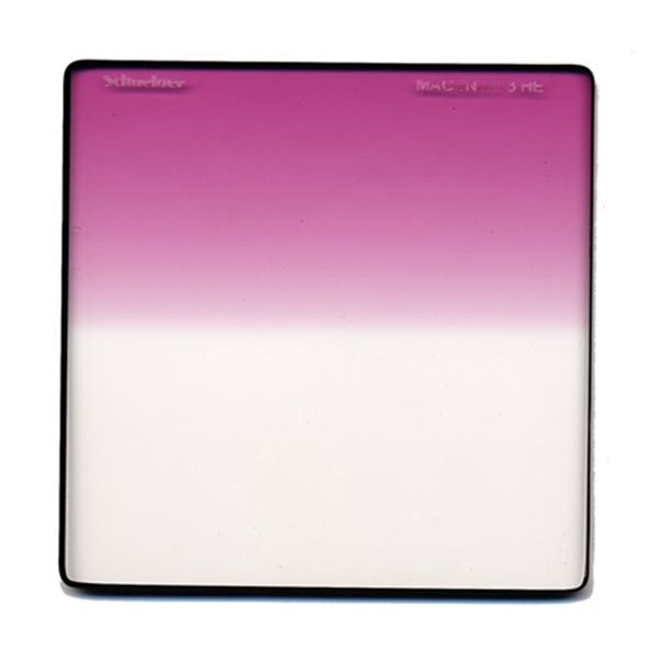 "Schneider Optics 6.6 x 6.6"" Graduated Magenta 3 Water White Glass Filter - Hard Edge"