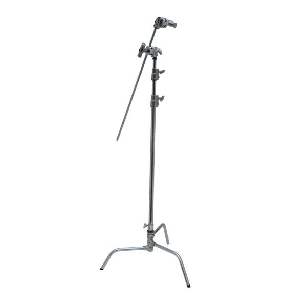 "Kupo 40"" Master Chrome C-Stand with Turtle Base, Grip Head & Arm"