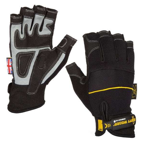 Dirty Rigger Black Comfort Fingerless Gloves (Various Sizes)