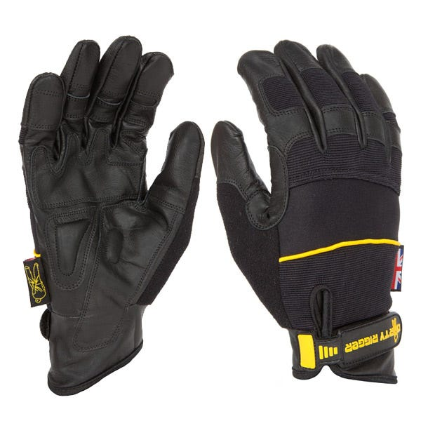 Dirty Rigger Black Leather Grip Gloves - Large