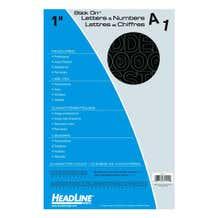 """Headline Sign Stick-On 1"""" Vinyl Letters & Numbers - Black"""