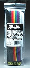 "Rip-Tie hook and loop Cable Ties. 1"" x9"" Rainbow 10 Pack"