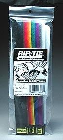 """Rip-Tie hook and loop Cable Ties. 1"""" x9"""" Rainbow 10 Pack"""