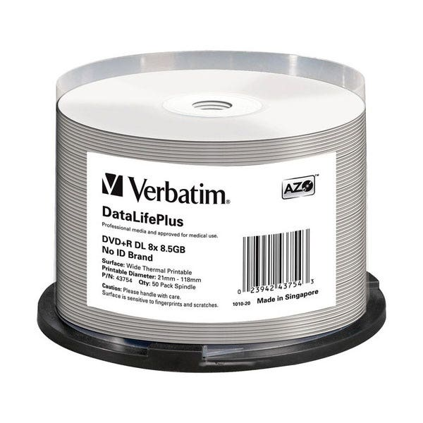 Verbatim 8X DataLifePlus Double-Layer White Thermal Hub Printable 4.7GB DVD+R - 50pc