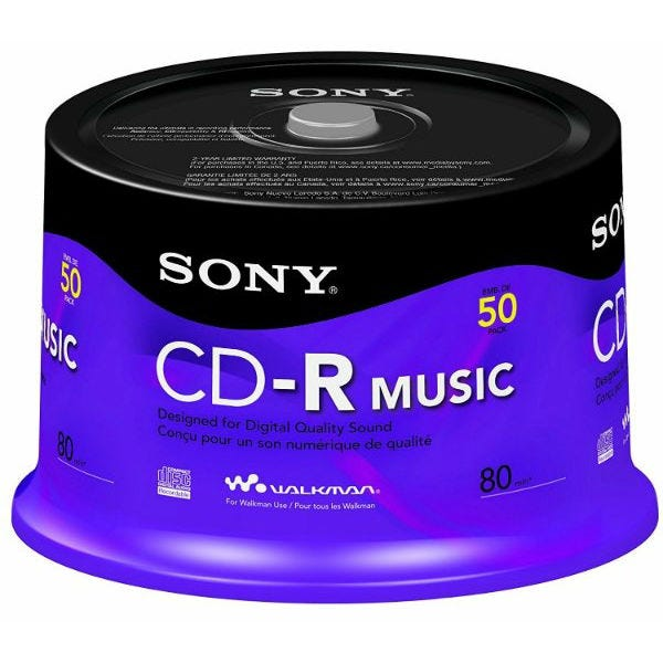 Sony 24X Branded Audio Only 80 Min CDR Cake-Box - 50pc