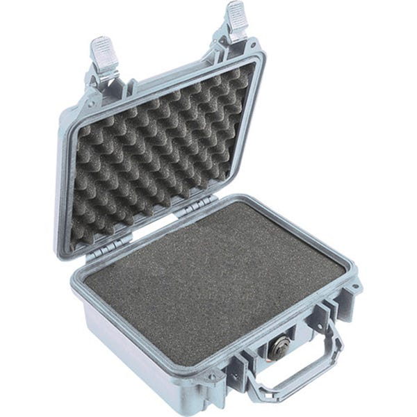 Pelican 1200 Case with Foam - Silver