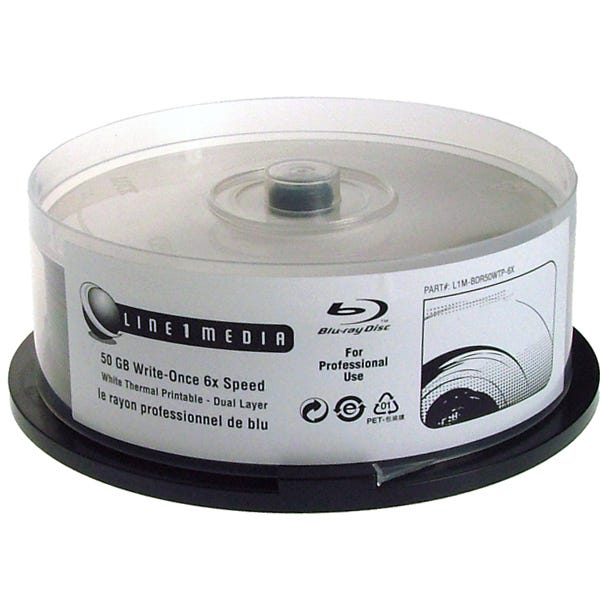 Line 1 Media Blu-ray-6X-50GB-Dual Layer-Thermal-W-Hub Print - Cake Box - 25pc
