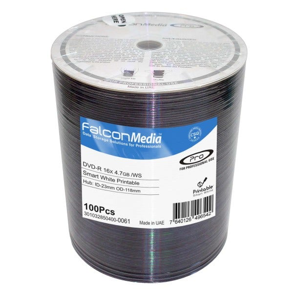 photo relating to Dvd R Printable known as Falcon 16X Sensible White Inkjet Hub Printable 4.7GB DVD-R Shrinkwrap - 100laptop or computer