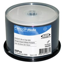 Falcon 16X White Inkjet Smart Guard Water Resistant Hub Printable 4.7GB DVD-R  Cake Box  - 50pc