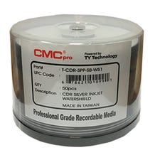 CMC Pro Taiyo Yuden 52X WaterShield Silver Inkjet Hub Printable 700MB CD-R Cake Box - 50pc