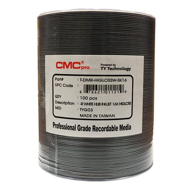 CMC Pro Taiyo Yuden 16X White High Gloss Inkjet Hub Printable DVD-R Shrinkwrap - 600pc