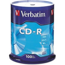 Verbatim 52X Branded 80 Min CDR Cake Box - 100pc