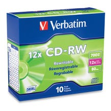 Verbatim 12X Branded Rewritable 80 Min CD-RW in Slim Jewel Case - 10pc