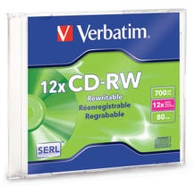 Verbatim 12X Branded Rewritable 80 Min CD-RW in Slim Jewel Case - 1pc