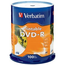 Verbatim 16X White Inkjet Hub Printable 4.7GB DVD-R  Cake Box - 100pc