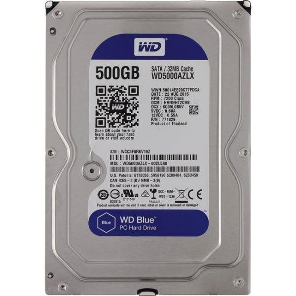 """WD Blue 500 GB 3.5"""" Internal Hard Drive - SATA - 7200 - 32 M"""