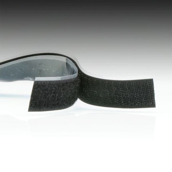 "1"" Black Hook and Loop Adhesive Backed Material - 75 Feet"