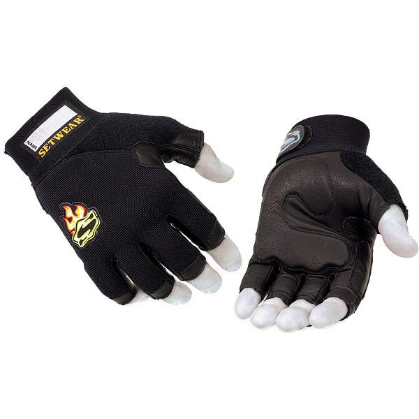 Setwear Black 3/4 Fingerless Leather Gloves - Medium