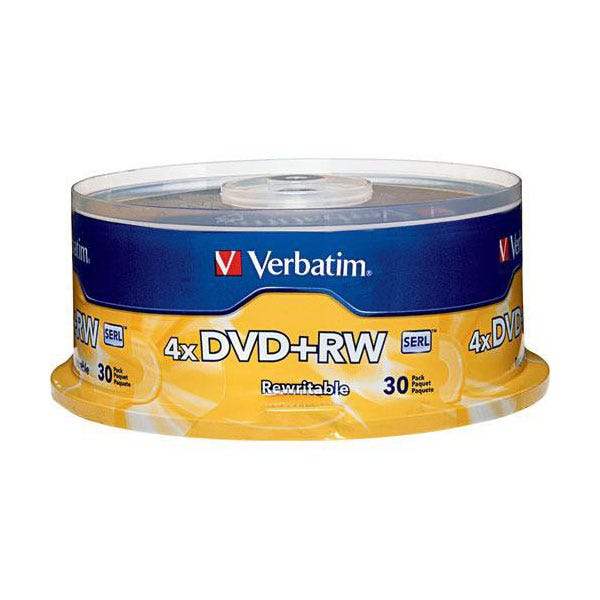 Verbatim 4X Branded Surface DVD+RW - 30pc