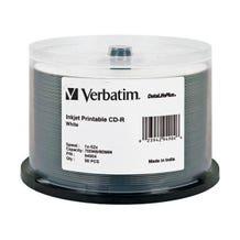 Verbatim 52X DataLifePlus White Inkjet Printable 700MB CD-R - 50pc