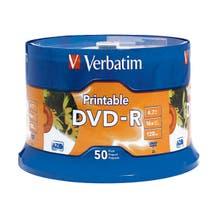 Verbatim 16X White Inkjet Branded 4.7GB DVD-R Cake Box - 50pc