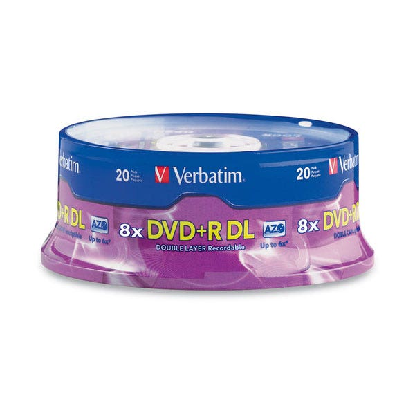 Verbatim 8X Double-Layer Branded 8.5GB DVD+R - 20pc