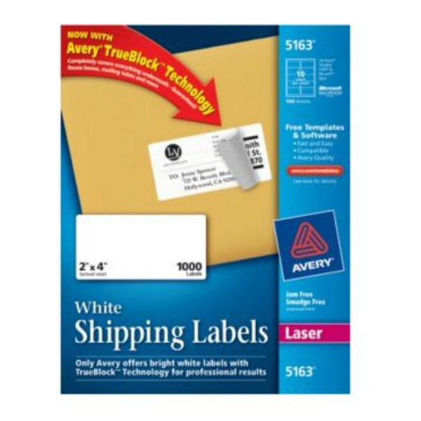 "Avery 5163 Laser Shipping Labels. 2"" x 4"" (1000 Labels)"