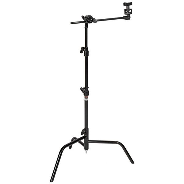 "Matthews Studio Equipment 20"" Black C+ Stand with Spring Loaded Turtle Base, Grip Head & Arm"
