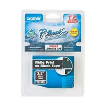 "Brother TZ TZ-345 Printer Label - 3/4"" - White on Black"