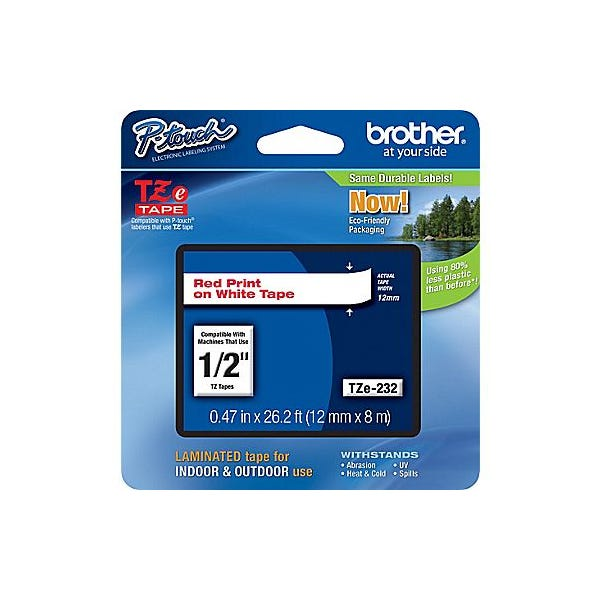 Brother P-Touch TZe Label Tape with Red Letters - White (Various)
