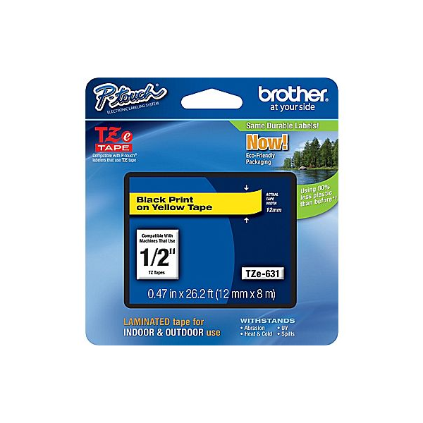 Brother P-Touch TZe Label Tape with Black Letters - Yellow (Various)