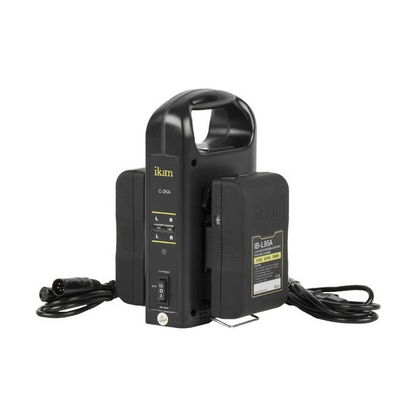 ikan Dual Pro Battery Charger with Two 95Wh Gold Mount Batteries
