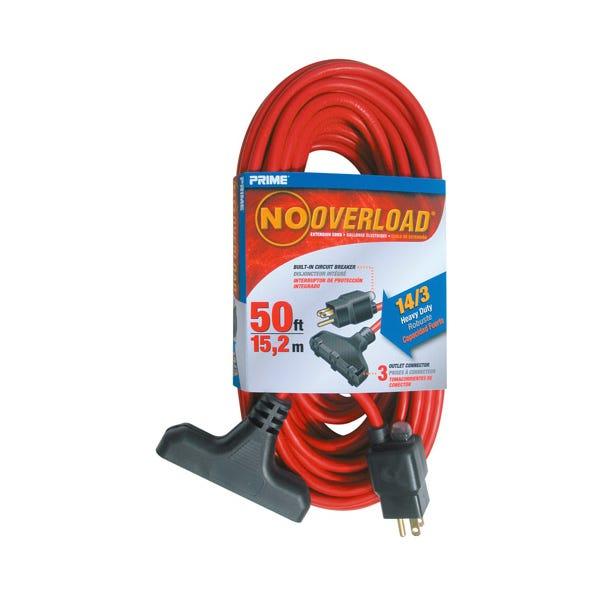 Prime Triple-Tap No Overload Extension Cord w/ Circuit Breaker Plug - 50ft