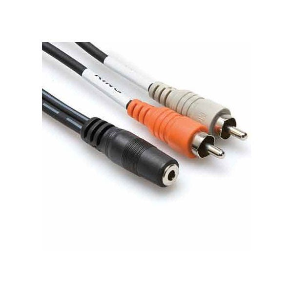 Hosa Technology Stereo Mini Female to 2 RCA Male Y-Cable - 10'
