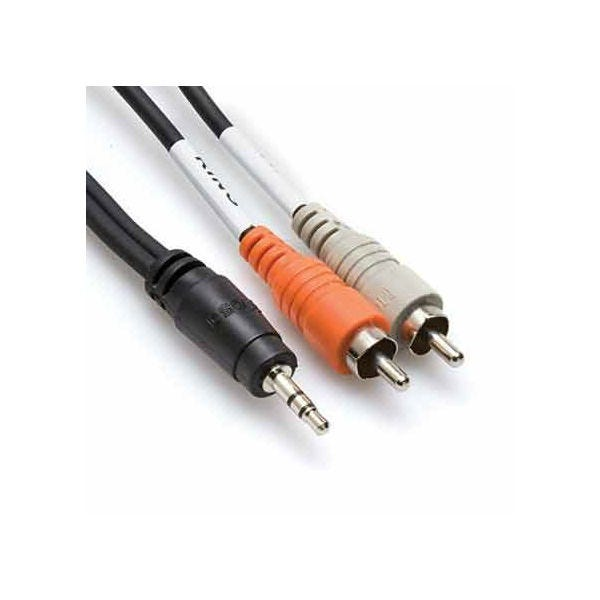 Hosa Technology Stereo Mini Male to 2 RCA Male Y-Cable - 3'