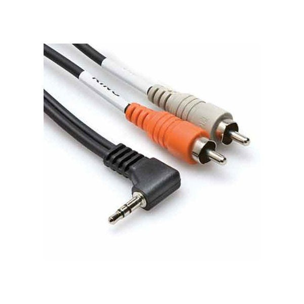 Hosa Technology Stereo Mini Angled Male to 2 RCA Male Y-Cable - 3'