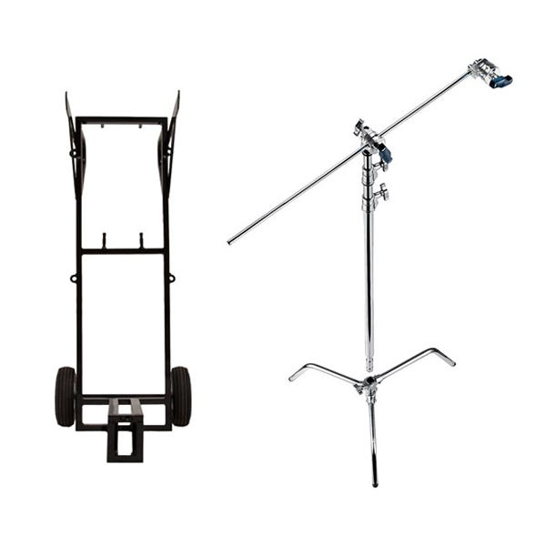 Avenger 12 Chrome Turtle Base C-Stands and Cart Bundle