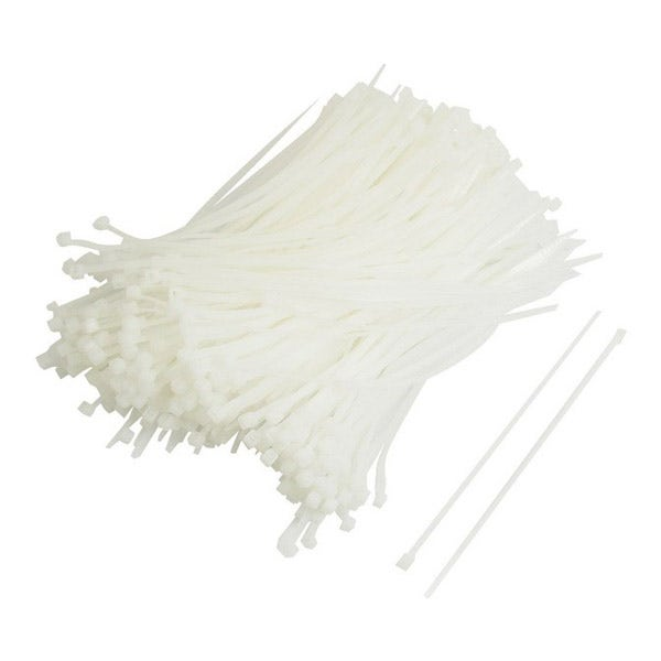 """Zack Electronics 11"""" Cable Ties - White (100 Pack)"""