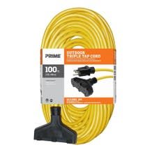 Prime EC600835 100ft. 12/3 Triple Tap Extension Cord - Yellow