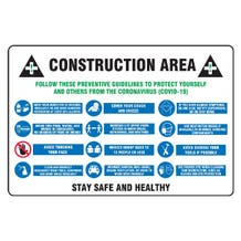 """Accuform Contractor Preferred Safety Sign: Construction Area Follow These Preventative Guidelines To Protect Yourself And Others From The Coronavirus - Lite Corrugated Plastic (24"""" x 36"""")"""