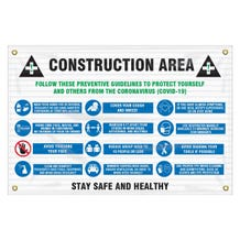 """Accuform Contractor Preferred Safety Sign: Construction Area Follow These Preventative Guidelines To Protect Yourself And Others From The Coronavirus - Mesh (24"""" x 36"""")"""