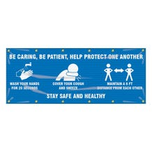 Accuform Fence-Wrap Mesh Banner: Be Caring, Be Patient, Help Protect One Another - Blue (4' x 10')