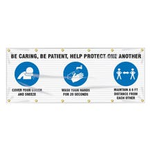 Accuform Fence-Wrap Mesh Banner: Be Caring, Be Patient, Help Protect One Another - White (4' x 10')